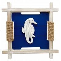 Панно декоративное Морской Конёк , дерево, канат, 27см