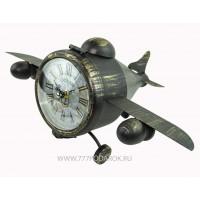 Ретро модель самолета с часами и тайником, металл  УЦЕНКА