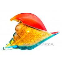 Морская раковина. Стеклянная фигурка в стиле Мурано. Высота 26 см RED