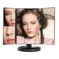 Зеркало косметическое с LED подсветкой,  черный цвет, USB зарядка