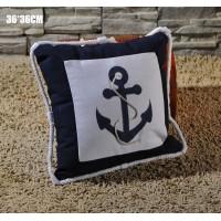Декоративная подушка ЯКОРЬ 36 см, синий цвет