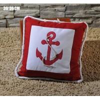 Декоративная подушка ЯКОРЬ 36 см, красный цвет