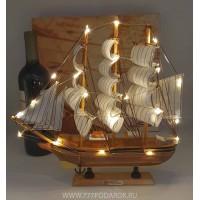 модель Корабля с подсветкой, 32см  дерево