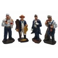 Набор статуэток 4шт -Моряк, Рыбак, Капитан,Рыболов - 20см