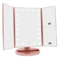 Зеркало косметическое с LED подсветкой,  нежно-розовый цвет, USB зарядка