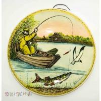 "Тарелка настенная ""Рыбак в лодке"""