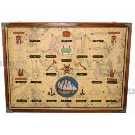 Панно морские узлы  58x43 см фон старинная карта