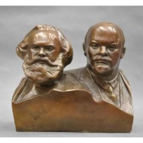 Бюст  Ленин и Маркс  бронза, 15 см
