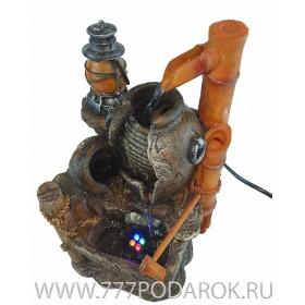 """Фонтан настольный  """"Бамбуковый колодец"""", высота 24 см, подсветка"""