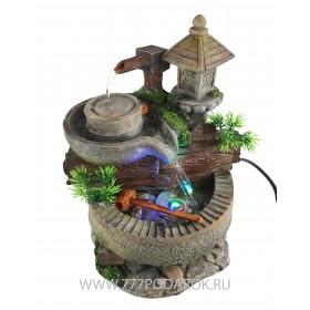 Фонтан  настольный Мельница и колодец, высота 24 см, подсветка