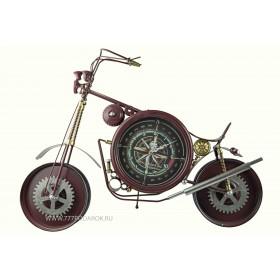 Мотоцикл с часами, 73 см, металл