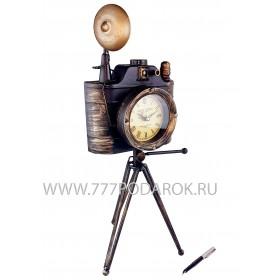 """настольные часы """"Старинный Фотоаппарат"""" металл, 50см"""
