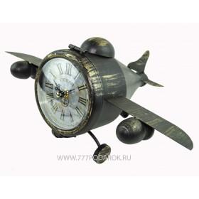 Ретро модель самолета с часами и тайником, металл
