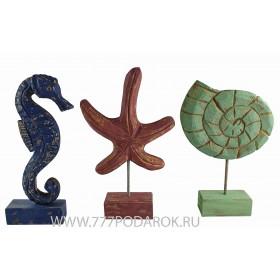 морской декор Звезда, Конек, Ракушка -30см, дерево