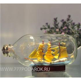 Корабль в бутылке Мystery 19cm, стекло, дерево