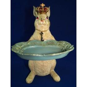 Фигурка Белый кролик в короне  с подносом, 30см, держатель визиток
