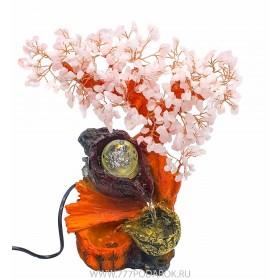 "Фонтан  ""Цветущая сакура - золотая чаша"" 35 см, подсветка, шар"