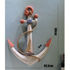 Якорь с кораблем 60 см, дерево, белый