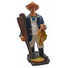 Фигурка  Рыбак в шляпе с уловом 20см