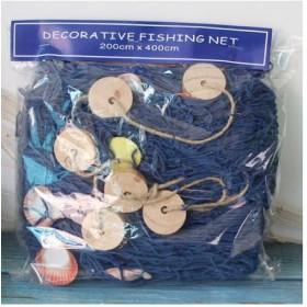 декоративная рыболовная  Сеть  4х2 метра  синий  цвет, ракушки, поплавки