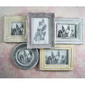 фоторамка настенная деревянная,  ретро-коллаж  5 фотографий