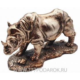 Статуэтка Носорог 22 см, камень, металл