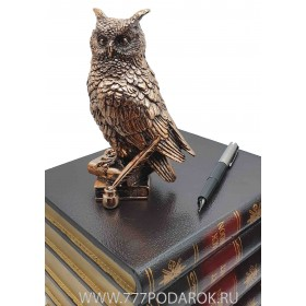Статуэтка мудрая Сова, высота 16см, камень, металл