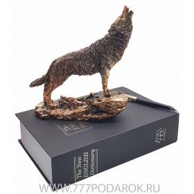 фигурка  Волк воет  19см, камень, металл