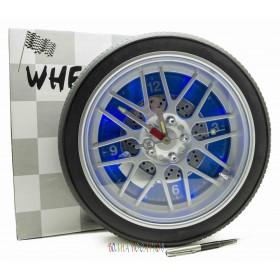 Часы колесо 35 см с подсветкой, синий фон