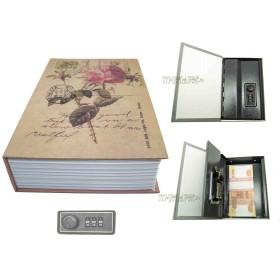 Книга сейф с кодовым замком Розы и марки