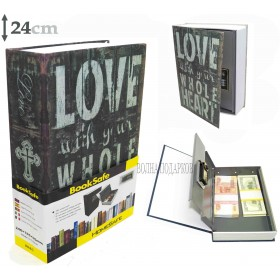 Книга сейф с кодовым замком 24см Люблю тебя всем сердцем
